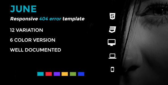 June - HTML5 Responsive 404 Pages