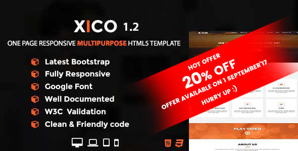 XICO - One Page Responsive Multipurpose HTML5 Template