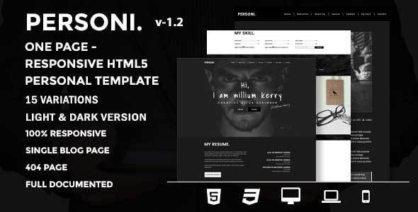 Personi | One Page - Responsive HTML5 Personal Template